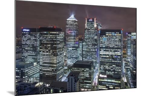 The New London Financial District in the Docklands at Night.-David Bank-Mounted Photographic Print