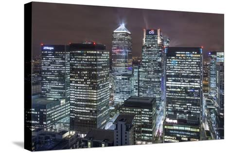 The New London Financial District in the Docklands at Night.-David Bank-Stretched Canvas Print