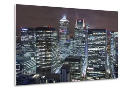 The New London Financial District in the Docklands at Night.-David Bank-Metal Print