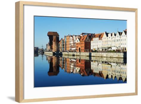 Europe, Poland, Gdansk, Canal Side Houses and Gdansk Crane-Christian Kober-Framed Art Print