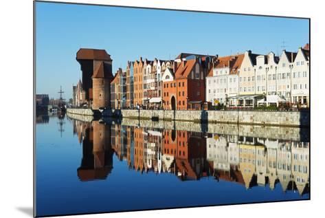Europe, Poland, Gdansk, Canal Side Houses and Gdansk Crane-Christian Kober-Mounted Photographic Print
