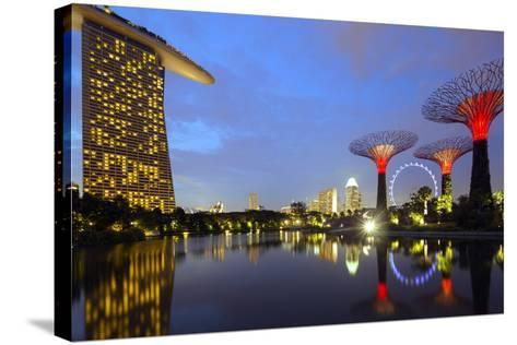 South East Asia, Singapore, South East Asia, Singapore, Gardens by the Bay and Marina Bay Sands-Christian Kober-Stretched Canvas Print