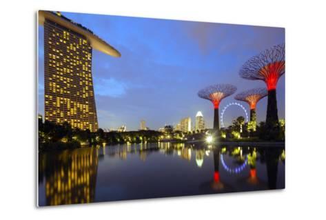 South East Asia, Singapore, South East Asia, Singapore, Gardens by the Bay and Marina Bay Sands-Christian Kober-Metal Print