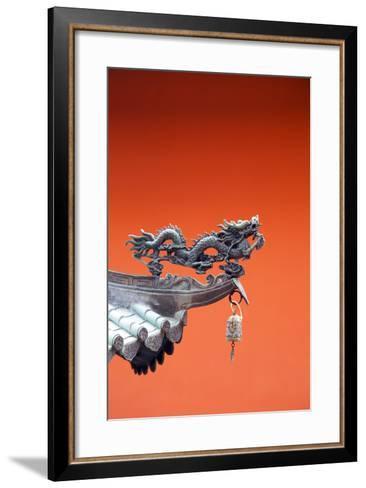 South East Asia, Singapore, Thian Hock Keng Temple, Detail of Dragon Sculpture-Christian Kober-Framed Art Print