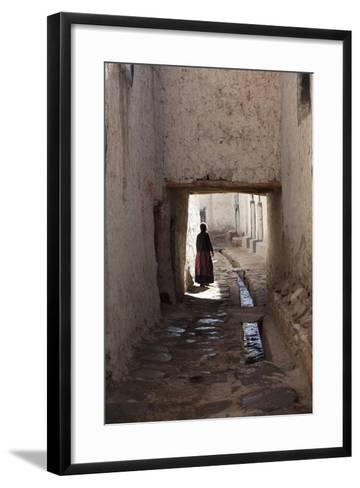 Nepal, Mustang, Lo Manthang. Local Lady in the Ancient Capital of Lo Manthang.-Katie Garrod-Framed Art Print