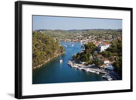 Greece, Paxos. Yachts and Pleasure Boats Moored in the Entrance to Gaios Harbour-John Warburton-lee-Framed Art Print