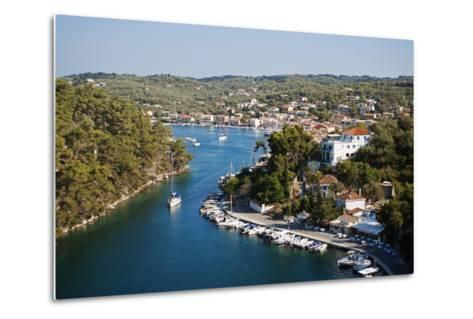 Greece, Paxos. Yachts and Pleasure Boats Moored in the Entrance to Gaios Harbour-John Warburton-lee-Metal Print