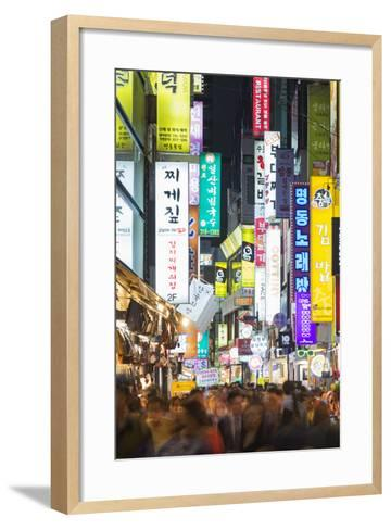 Asia, Republic of Korea, South Korea, Seoul, Neon Lit Streets of Myeong-Dong-Christian Kober-Framed Art Print