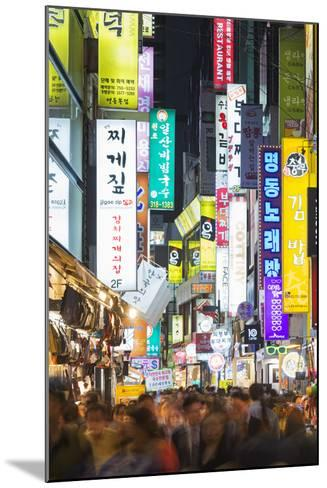 Asia, Republic of Korea, South Korea, Seoul, Neon Lit Streets of Myeong-Dong-Christian Kober-Mounted Photographic Print