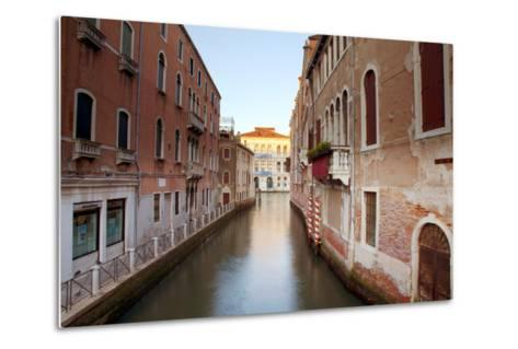 Italy, Veneto, Venice. Typical Venetian Palaces Leading to the Grand Canal.-Ken Scicluna-Metal Print