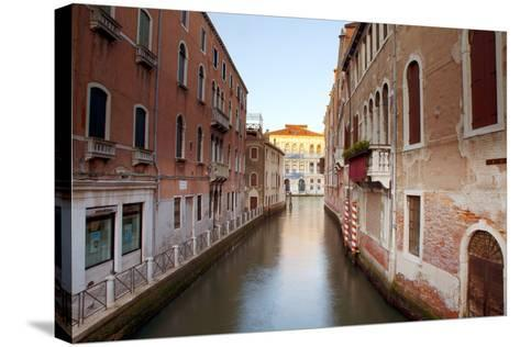 Italy, Veneto, Venice. Typical Venetian Palaces Leading to the Grand Canal.-Ken Scicluna-Stretched Canvas Print