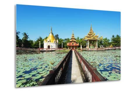 South East Asia, Myanmar, Bago, Lakeside Pagodas-Christian Kober-Metal Print