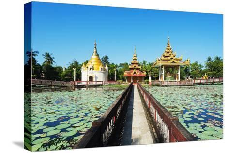 South East Asia, Myanmar, Bago, Lakeside Pagodas-Christian Kober-Stretched Canvas Print
