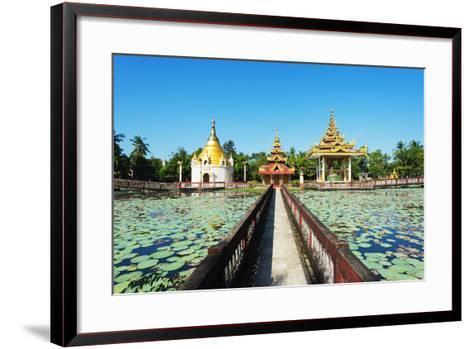 South East Asia, Myanmar, Bago, Lakeside Pagodas-Christian Kober-Framed Art Print