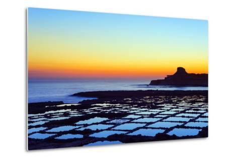 Mediterranean Europe, Malta, Gozo Island, Salt Pans at Sunrise, Xwejni Bay-Christian Kober-Metal Print