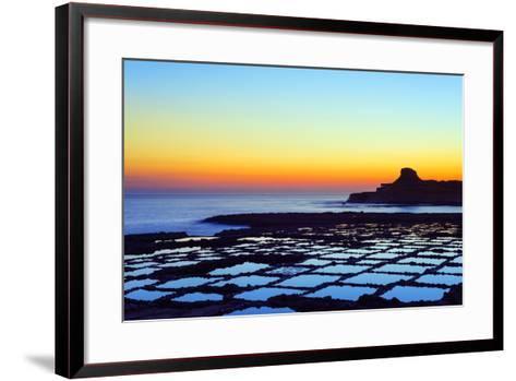 Mediterranean Europe, Malta, Gozo Island, Salt Pans at Sunrise, Xwejni Bay-Christian Kober-Framed Art Print