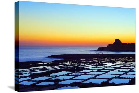 Mediterranean Europe, Malta, Gozo Island, Salt Pans at Sunrise, Xwejni Bay-Christian Kober-Stretched Canvas Print