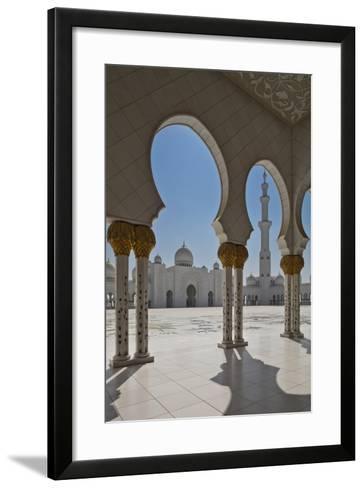 Internal View of the Arcade of the Sheikh Zayed Mosque, Al Maqta District of Abu Dhabi, Abu Dhabi-Cahir Davitt-Framed Art Print
