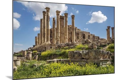 Jordan, Jerash. the Ruins of the Great Temple of Zeus in the Ancient Roman City of Jerash.-Nigel Pavitt-Mounted Photographic Print
