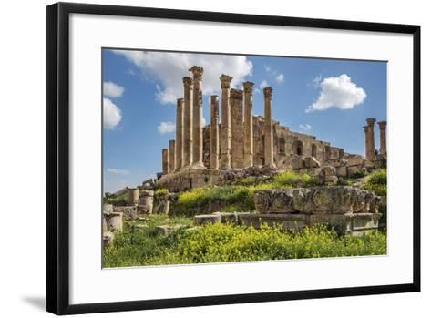 Jordan, Jerash. the Ruins of the Great Temple of Zeus in the Ancient Roman City of Jerash.-Nigel Pavitt-Framed Art Print