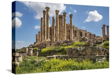 Jordan, Jerash. the Ruins of the Great Temple of Zeus in the Ancient Roman City of Jerash.-Nigel Pavitt-Stretched Canvas Print