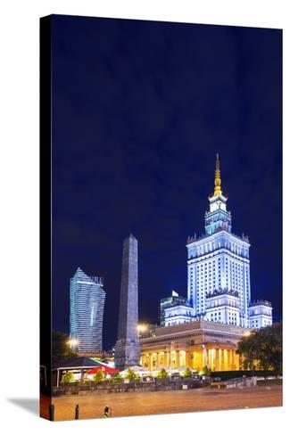 Europe, Poland, Warsaw, Palace of Culture and Science-Christian Kober-Stretched Canvas Print