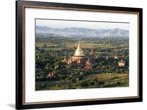 The Golden Stupa of Dhammayazika Pagoda Amongst Some Other Terracotta Buddhist Temples in Bagan-Annie Owen-Framed Art Print