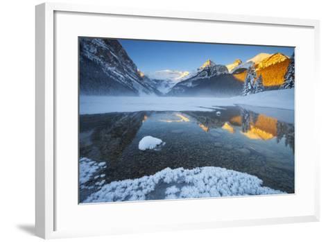 Lake Louise at Sunrise in Winter, Banff National Park, Alberta, Canada, North America-Miles Ertman-Framed Art Print