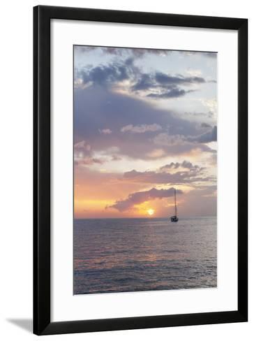 Sailing Boat at Sunset, Playa De Los Cristianos, Los Cristianos, Tenerife, Canary Islands, Spain-Markus Lange-Framed Art Print