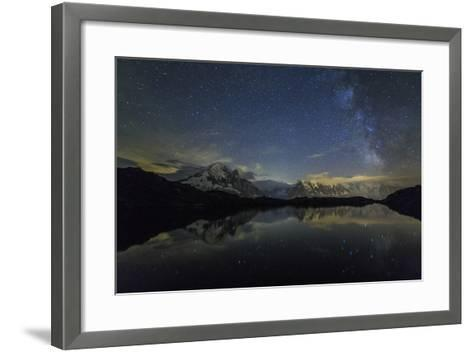 Stars and Milky Way Illuminate the Snowy Peaks and Lac De Cheserys, France-Roberto Moiola-Framed Art Print