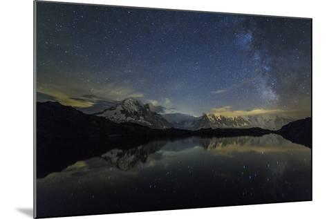 Stars and Milky Way Illuminate the Snowy Peaks and Lac De Cheserys, France-Roberto Moiola-Mounted Photographic Print