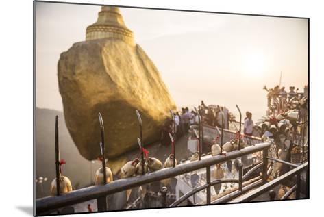 Prayer Bells at Sunset at Golden Rock Stupa (Kyaiktiyo Pagoda), Mon State, Myanmar (Burma), Asia-Matthew Williams-Ellis-Mounted Photographic Print