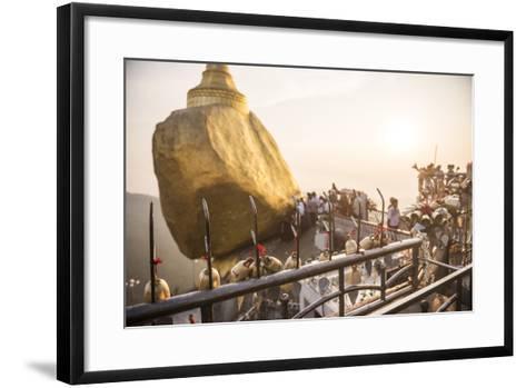 Prayer Bells at Sunset at Golden Rock Stupa (Kyaiktiyo Pagoda), Mon State, Myanmar (Burma), Asia-Matthew Williams-Ellis-Framed Art Print