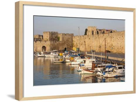 View across Tranquil Kolona Harbour to the City Walls, Dodecanese Islands-Ruth Tomlinson-Framed Art Print