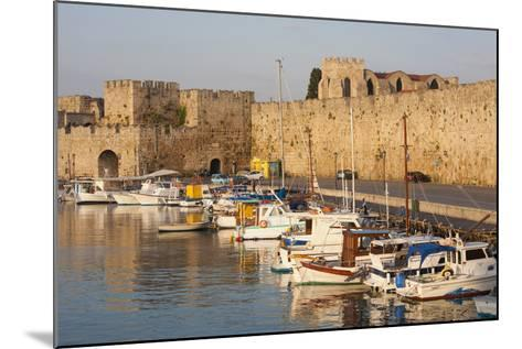 View across Tranquil Kolona Harbour to the City Walls, Dodecanese Islands-Ruth Tomlinson-Mounted Photographic Print