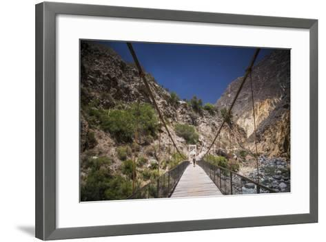 People Trekking over Colca River Bridge, Colca Canyon, Peru, South America-Matthew Williams-Ellis-Framed Art Print