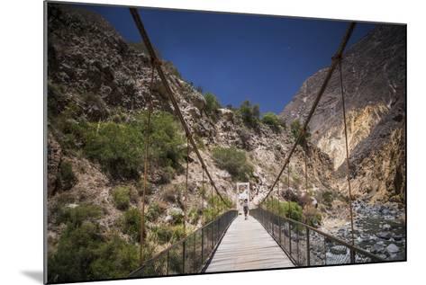 People Trekking over Colca River Bridge, Colca Canyon, Peru, South America-Matthew Williams-Ellis-Mounted Photographic Print