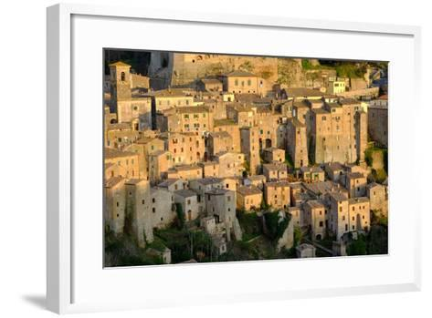 View of Sorano Seen from Etruscan Rock Settlement of San Rocco, Maremma, Grosseto, Tuscany, Italy-Carlo Morucchio-Framed Art Print