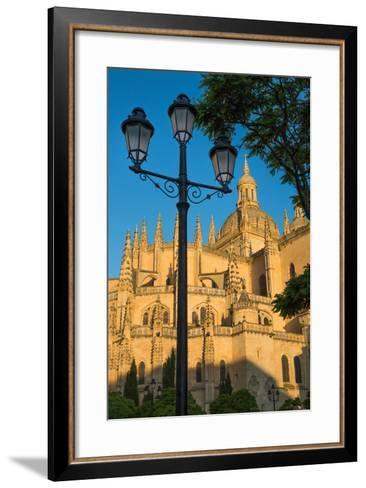 Plaza Mayor and the Imposing Gothic Cathedral of Segovia, Castilla Y Leon, Spain, Europe-Martin Child-Framed Art Print