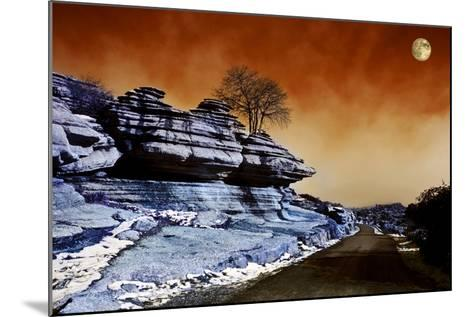 Moon over Road across El Torcal, Antequera, Malaga Province, Andalucia, Spain--Mounted Photographic Print