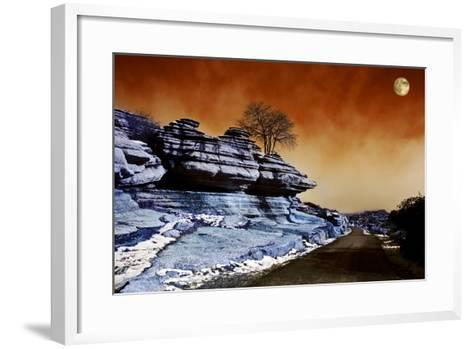 Moon over Road across El Torcal, Antequera, Malaga Province, Andalucia, Spain--Framed Art Print