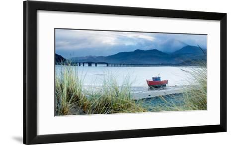 Fishing Boat with Barmouth Bridge in Background, Coast of Cardigan Bay, Gwynedd, Wales, U.K.-John Alexander-Framed Art Print