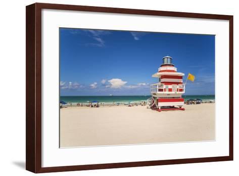 Art Deco Style Lifeguard Hut on South Beach, Ocean Drive, Miami Beach, Miami, Florida, U.S.A.-Gavin Hellier-Framed Art Print