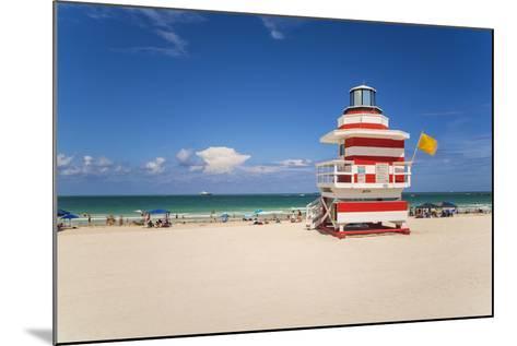 Art Deco Style Lifeguard Hut on South Beach, Ocean Drive, Miami Beach, Miami, Florida, U.S.A.-Gavin Hellier-Mounted Photographic Print