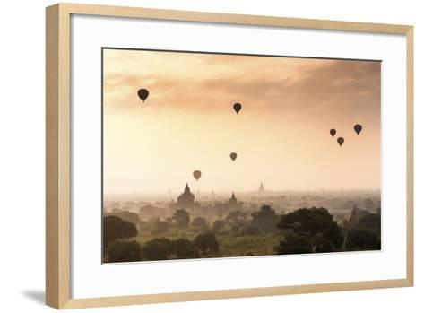 Hot Air Balloons over the Temples of Bagan (Pagan), Myanmar (Burma), Asia-Jordan Banks-Framed Art Print