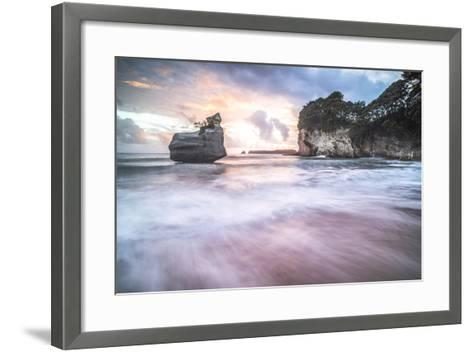 Cathedral Cove at Sunrise, Coromandel Peninsula, North Island, New Zealand, Pacific-Matthew Williams-Ellis-Framed Art Print