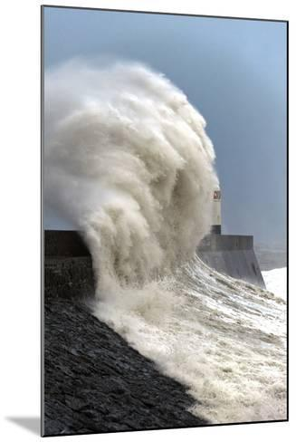 Huge Waves Crash Against the Harbour Wall at Porthcawl, Bridgend, Wales, United Kingdom, Europe-Graham Lawrence-Mounted Photographic Print
