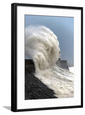 Huge Waves Crash Against the Harbour Wall at Porthcawl, Bridgend, Wales, United Kingdom, Europe-Graham Lawrence-Framed Art Print