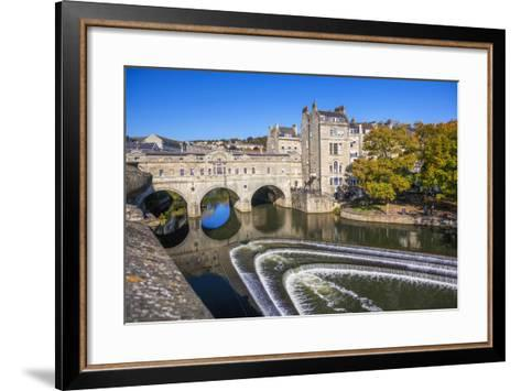 Bath Weir and Pulteney Bridge on the River Avon, Bath, Somerset, England, United Kingdom-Billy Stock-Framed Art Print