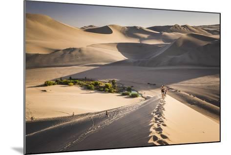 Tourists Climbing Sand Dunes at Sunset at Huacachina, a Village in the Desert, Ica Region, Peru-Matthew Williams-Ellis-Mounted Photographic Print